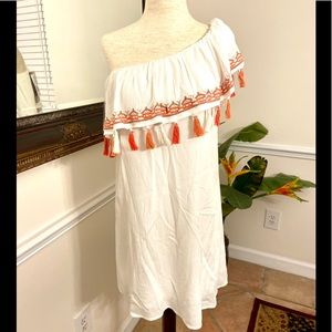 Lily Rose white with Orange Dress